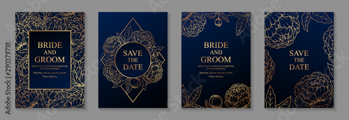 Fényképezés Set of luxury floral wedding invitation design or greeting card templates with golden peonies on a navy blue background