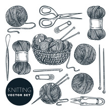 Knitting Tools, Wool Yarn, Isolated On White Background. Vector Sketch Illustration. Handmade Needlework Design Elements