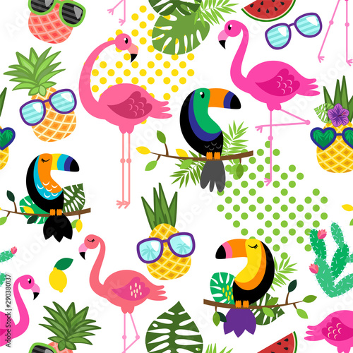 Foto op Canvas Vlinders in Grunge Seamless, Tileable Tropical Vector Pattern with Flamingos, Toucans, Cacti and Tropical Leaves