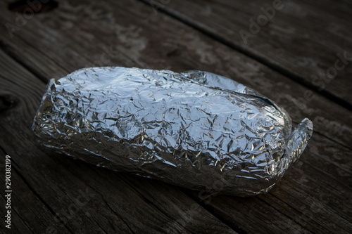Fototapeta  California Style Burrito Wrapped in Foil
