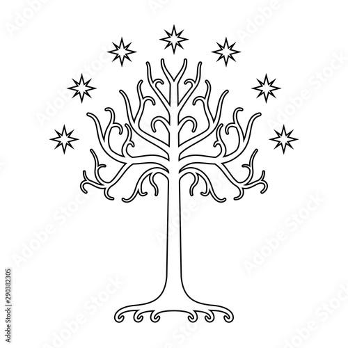 Photo  White Tree of Gondor. Isolated black and white eps