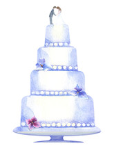 Wedding Cake With Blue And Pin...