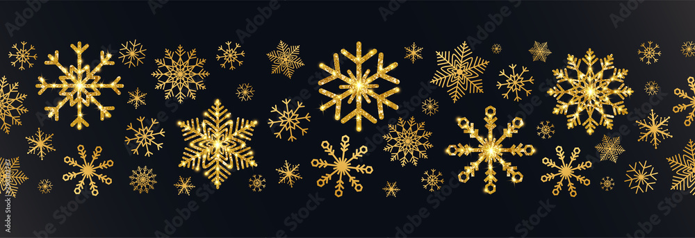 Fototapeta Golden snowflakes border on black background. Merry Christmas and Happy New Year greeting card with glitter gold snowflakes. Luxury holiday decoration banner. Vector illustration