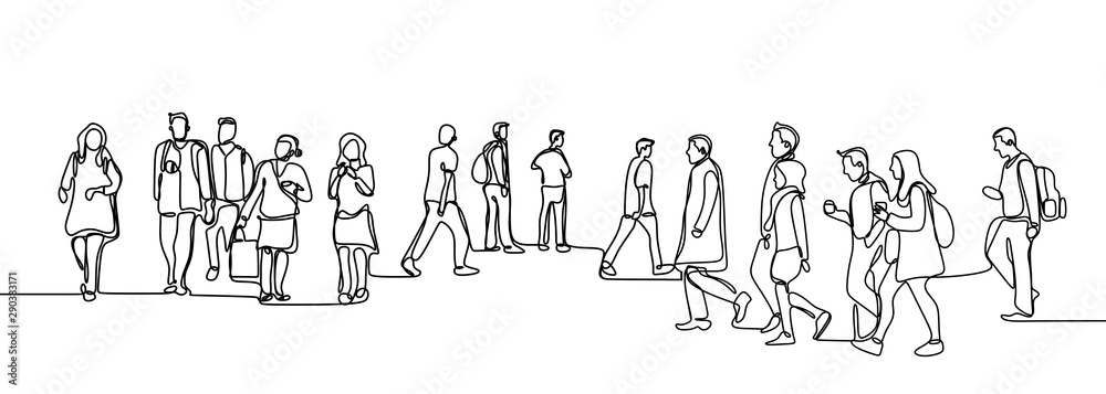 Fototapeta Urban commuters one continuous line drawing minimalism design sketch hand drawn vector illustration. People walking before or after work time on city street.