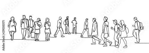 Obraz Urban commuters one continuous line drawing minimalism design sketch hand drawn vector illustration. People walking before or after work time on city street. - fototapety do salonu