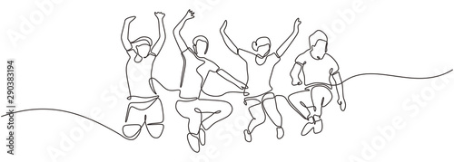 Fototapeta Group of people jump looks happy and enjoying their life continuous one line drawing minimalism design. Vector illustration simplicity conceptual metaphor design. obraz