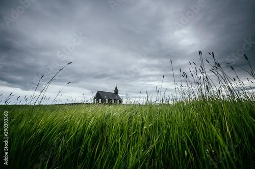 Poster Taupe Scenic image of Budakirkja church. Location Budir, Snafellsnes peninsula, Iceland, Europe.
