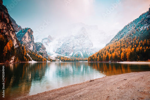Scenic image of alpine lake Braies (Pragser Wildsee). Location place Dolomiti national park Fanes-Sennes-Braies, Italy, Europe.