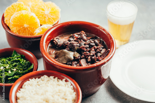 Brazilian Feijoada Food. Typical dish of brazilian cuisine Canvas Print
