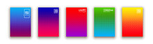 Set Of 5 Social Media Duotone Gradient Background. Social Network Stories Soft Colorful Theme Pack. Rainbow Graphic Display, Wallpaper. Vibrant Mobile App Design Set Blending Bright Duo Color Template