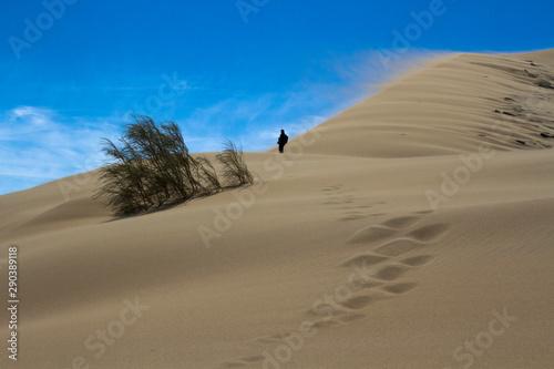 Photo Golden sands of a singing dune in Kazakhstan