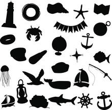 Nautical Silhouette Clip Art Design Vector