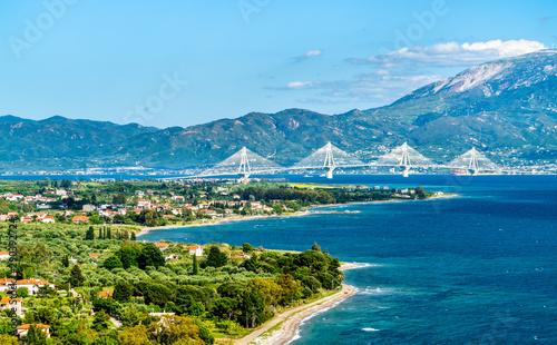 Rio-Antirrio bridge across the Gulf of Corinth in Greece Fototapet