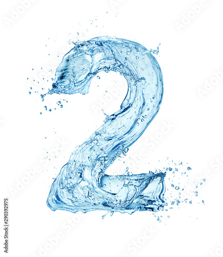 Valokuva  water digit 2 isolated on white background