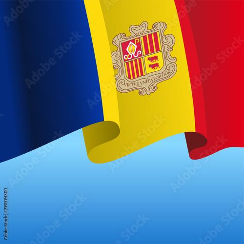 Andorran flag wavy abstract background. Vector illustration. Wallpaper Mural