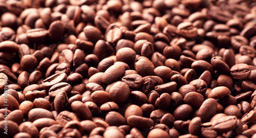 Fototapeta Roasted coffee beans a lot of filling
