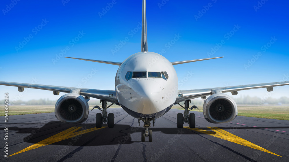 Fototapeta modern aircraft on a runway ready for take off