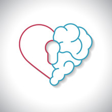 Emotional Brain Lock Security. Broken Heart And Brain With Key Hall Vector Flat Modern Icon Logo Vector Design. Interaction Between Soul Key For Intelligence, Emotions,  Divorce,  Rational Thinking