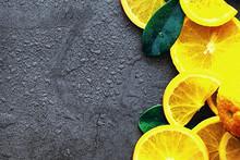 Orange Citrus Fruit On A Stone Table. Orange Background.