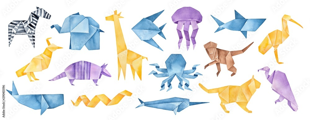 Fototapeta Big illustration collection of folded Origami Animals. Blue, yellow, violet, brown colors. Hand painted watercolour graphic drawing on white background, cut out clipart elements for creative design.