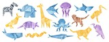 Big illustration collection of folded Origami Animals. Blue, yellow, violet, brown colors. Hand painted watercolour graphic drawing on white background, cut out clipart elements for creative design.