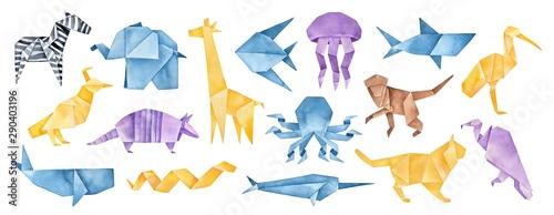 Fototapeta  Big illustration collection of folded Origami Animals