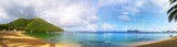 Fototapeta Tęcza - panorama plage paradisiaque avec arc-en-ciel