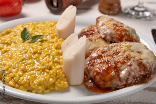 Saffron Risotto with parmigiana steak beef Tablou Canvas