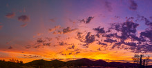 Sunrise Panorama Over The Sonoran Desert Of Arizona With Layers Of Mountains Shot At Altitude By A Drone.