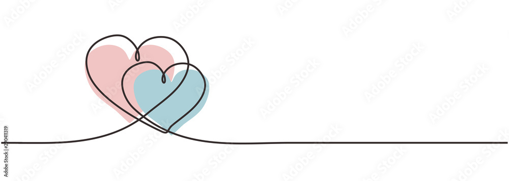 Fototapeta Two hearts embracing each other continuous one line drawing of love concept and romantic symbol for valentine's day greeting design card, poster, and sign. Vector illustration minimalism design.