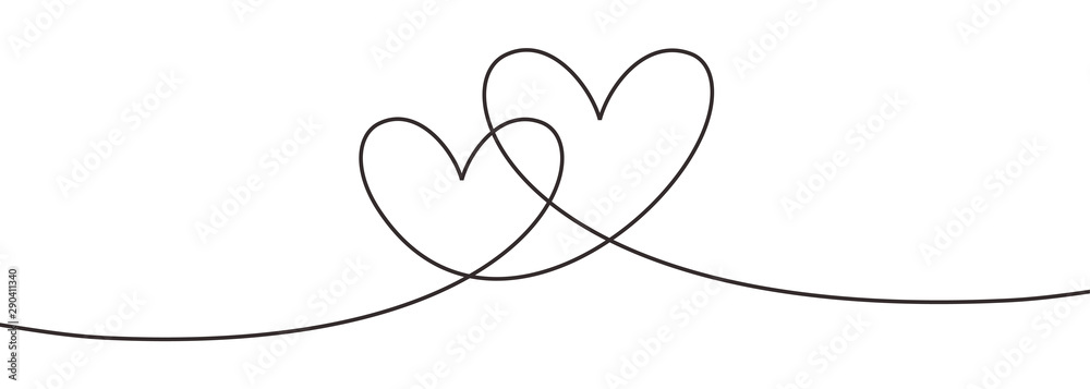 Fototapeta Continuous line drawing two hearts embracing, Black and white vector minimalist illustration of love concept minimalism one hand drawn sketch romantic theme.
