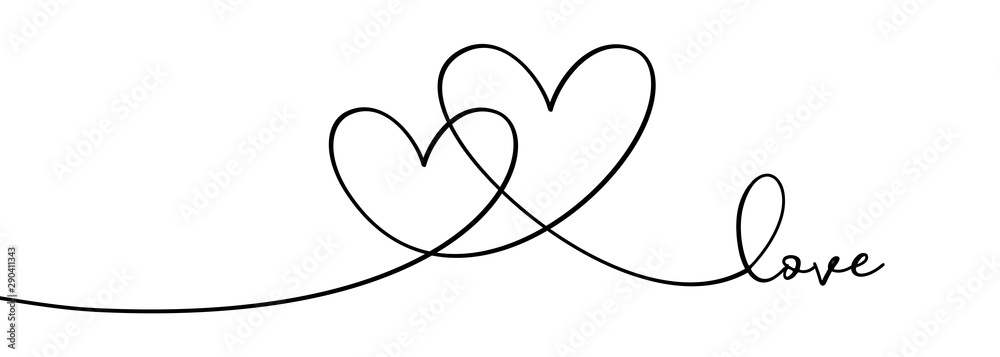 Fototapeta Continuous one line drawing hearts symbol embracing vector illustration minimalism design of love sign. Romantic relationship concept for wedding and Valentine's day card celebration.