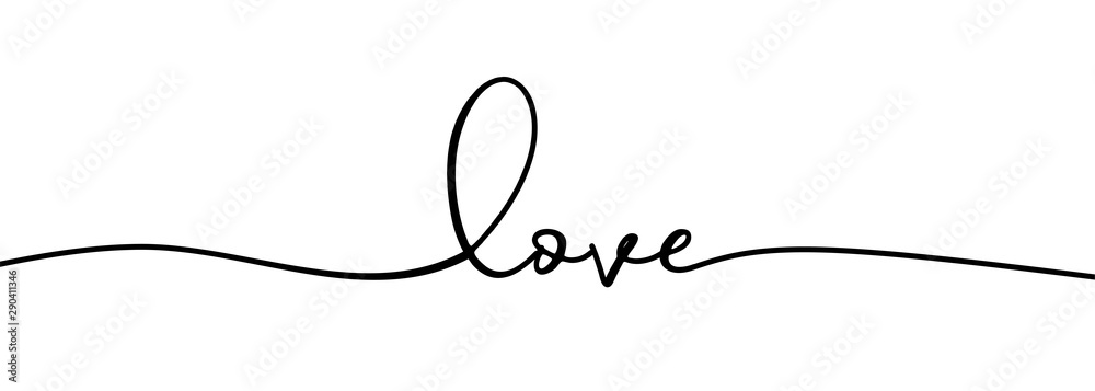 Fototapeta Continuous one line drawing of love typography lettering script font typographic lineart design. Minimalism concept of romantic card, banner, and poster sign and symbol.