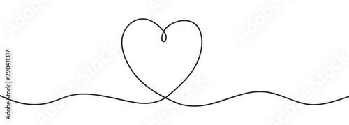 Romantic continuous line drawing of love sign with heart symbol Obraz na płótnie