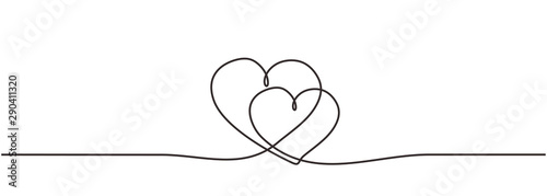 Love hearts sign continuous one line drawing Fototapeta