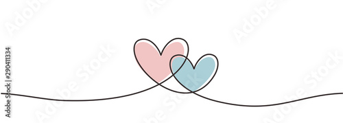 Fototapety, obrazy: Continuous one line drawing hearts symbol embracing vector illustration minimalism design of love sign. Romantic relationship concept for wedding and Valentine's day card.