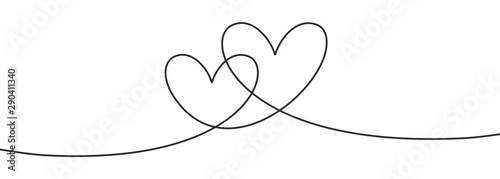 Fototapeta Continuous line drawing two hearts embracing, Black and white vector minimalist illustration of love concept minimalism one hand drawn sketch romantic theme