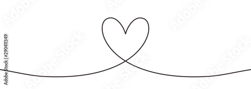 Fototapety, obrazy: Heart one line drawing minimalist design vector illustration. Continuous lineart minimalism design.