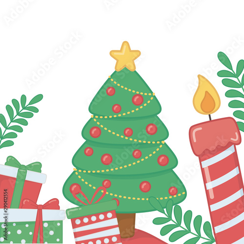 Fototapety, obrazy: Merry christmas pine tree vector design