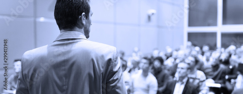 Speaker at Business Conference with Public Presentations Wallpaper Mural