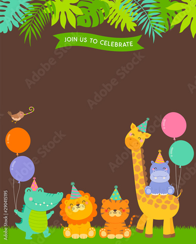 Fototapeta Cute Jungle Animals Cartoon Illustration With Copy Space For Kids Party Invitation Card Template