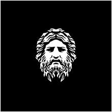 Ancient Greek God Sculpture Philosopher Face Like Zeus Triton Neptune Logo Design