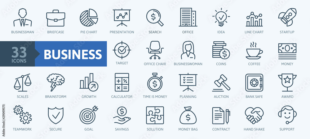 Fototapety, obrazy: Business and finance web icon set - minimal thin line web icon set. Outline icons collection. Simple vector illustration.