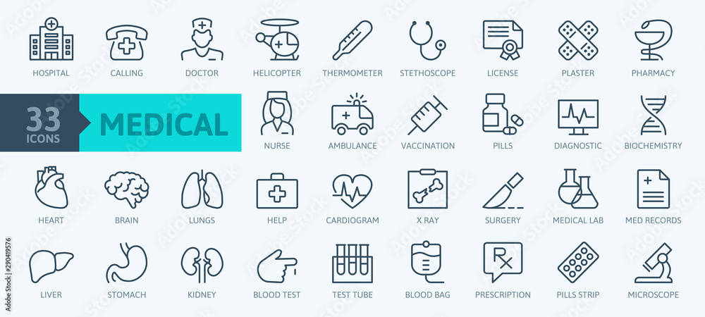Fototapety, obrazy: Medicine and Health symbols - minimal thin line web icon set. Outline icons collection. Simple vector illustration.