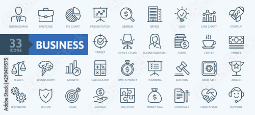 Business and finance web icon set - minimal thin line web icon set. Outline icons collection. Simple vector illustration.