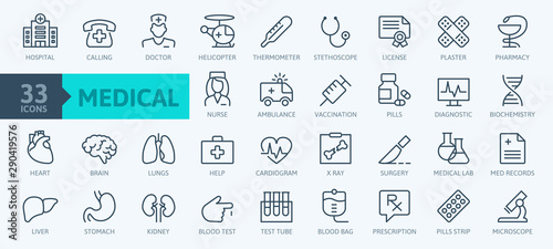 Stampa su Tela  Medicine and Health symbols - minimal thin line web icon set