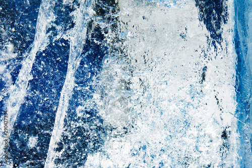 Fotografie, Obraz  Abstract frozen water.Ice texture winter background