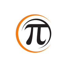 Stylish Math Sign Pi Symbol Logo Design Vector Illustrations