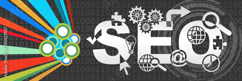 SEO - Search Engine Optimization Dark Colorful Element Binary Horizontal