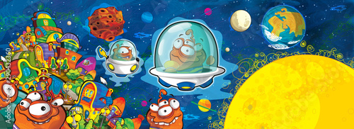 cartoon scene with some funny looking alien flying in ufo vehicle near some planet - white background - illustration for children - 290432360